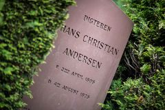 Tomba del poeta Hans Christian Andersen immagine stock libera da diritti