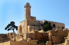 Tomba del profeta Samuel con il minareto Fotografia Stock