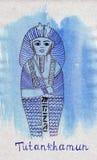 Tomba del punto di riferimento di schizzo dell'illustrazione del faraone Tutankhamen Fotografie Stock Libere da Diritti