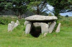 Tomba della galleria nella l Ile grande in Bretagna Fotografia Stock Libera da Diritti