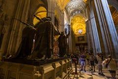 Tomba di Cristoforo Colombo, cattedrale di Siviglia, Siviglia, spagna immagini stock