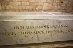 Tomba di Maria Kaczynski e di Lech nel castello di Wawel Fotografia Stock Libera da Diritti