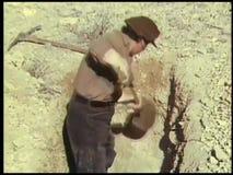 Tomba di scavatura dell'uomo video d archivio