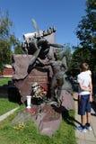 Tomba due volte dell'eroe dell'Unione Sovietica, pilota Vitaly Popkov al cimitero di Novodevichy a Mosca Fotografia Stock Libera da Diritti