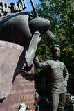 Tomba due volte dell'eroe dell'Unione Sovietica, pilota Vitaly Popkov al cimitero di Novodevichy a Mosca Fotografie Stock