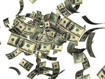 Tombant cents billets d'un dollar Photos stock