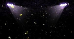 Tombant vers le bas confettis métalliques d'or d'aluminium de scintillement, avec le mouvement d'animation d'exposition de lumièr illustration libre de droits