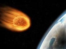 Tombant vers le bas, tiré par gravitation, son début extérieur obtenant brûlé Conce d'Armageddon illustration libre de droits