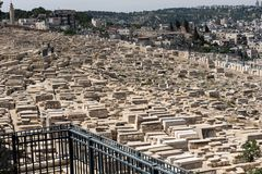 Tombe in cimitero ebreo Gerusalemme, Israele immagine stock libera da diritti