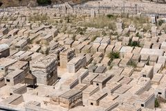 Tombe in cimitero ebreo Gerusalemme, Israele immagini stock libere da diritti