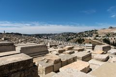 Tombe in cimitero ebreo Gerusalemme, Israele immagini stock