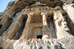 Tombe della roccia di Kaunos Lycian, Dalyan, Turchia Fotografia Stock