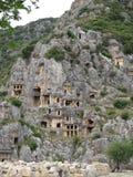 Tombeaux de roche de Lycian Images libres de droits