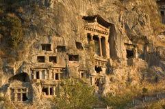 Tombeaux des rois antiques de Likya Images libres de droits