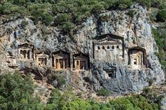 Tombes de caverne de Kaunos Photographie stock libre de droits