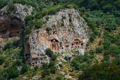 Tombes de caverne de Kaunos Photo stock