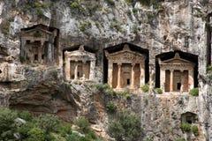 Tombes de caverne de Kaunos Images libres de droits
