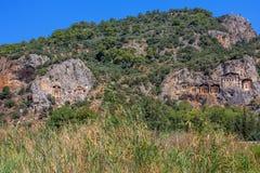 Tombes de caverne de Kaunos Image libre de droits