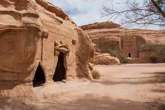 Tombes de Nabatean dans le site archéologique de Madaîn Saleh, Arabie Saoudite Image stock