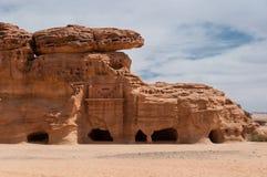 Tombes de Nabatean dans le site archéologique de Madaîn Saleh, Arabie Saoudite Images libres de droits