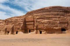 Tombes de Nabatean dans le site archéologique de Madaîn Saleh, Arabie Saoudite Images stock