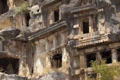 tombes de Roche-coupe en Myra, Demre, Turquie, scène 3 Photos libres de droits