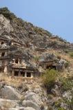tombes de Roche-coupe en Myra, Demre, Turquie, scène 4 Images libres de droits