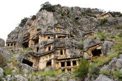 Tombes de roche de Myra image libre de droits