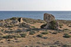 Tombes des rois dans Paphos sur la Chypre photographie stock
