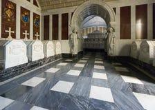 Tombes royales au sous-sol du palais EL Escorial photos stock