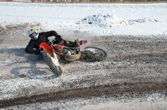 Tombez en panne le motocross de curseur de moto Photo stock
