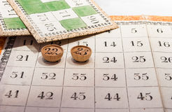 Tombola. Ancient Italian bingo game board with numbered Royalty Free Stock Photography