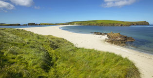 Tombolo and beach in Bigton and St Ninian. Shetland. Scotland royalty free stock photo