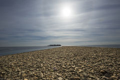 Tombolo of gravel at Silver Sands beach, Milford, Connecticut. royalty free stock photos