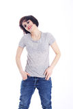 Tomboy girl in casual wear Royalty Free Stock Image