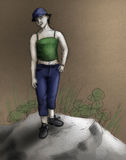Tomboy girl - colored sketch Royalty Free Stock Photography