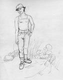 Tomboy girl - sketch Royalty Free Stock Image