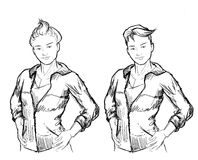 Tomboy girl sketch Stock Images