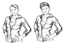 Tomboy girl sketches Royalty Free Stock Photos