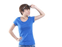 Tomboy looking asian chinese girl lifting her spectacles Stock Photography