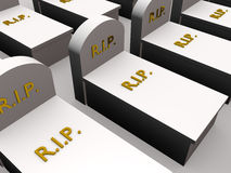 Tombs. Several Tombs with the word rip in gold. Rest in Peace Stock Photos