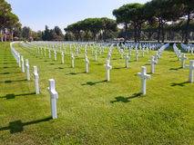 Tombs of the American Military Cemetery in Nettuno Stock Photo