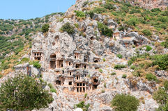 Tombs in ancient town Myra in Lycia Stock Photo