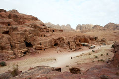 Tombs carved into the red sandstone in Petra,Jordan Royalty Free Stock Photo