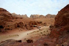 Tombs carved into the red sandstone in Petra,Jordan Stock Photos
