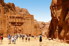 Tombs carved in the rock at Petra, Jordan Stock Image