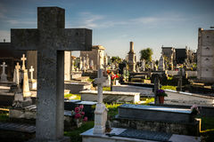 Tombs in the cemetery. Detail of tombs and gravestones in the cemetery Stock Image