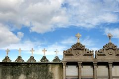Tombs and crosses at a spanish cemetery Stock Photos