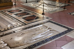 Tombs in floor of Basilica di Santa Croce Stock Images