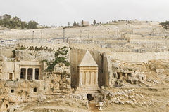 Tombs Hezir and Zechariah in the Kidron Valley . Tombs Hezir and Zechariah in the Kidron Valley at the foot of the Mount of Olives. Jerusalem, Israel Royalty Free Stock Photos